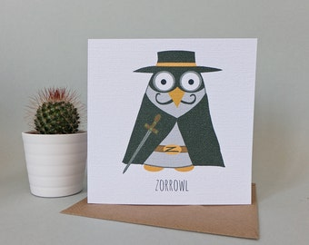 Zorrowl Greetings Card (The Mask of Zorro)