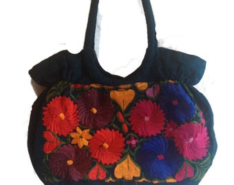 Handbag, Embroidered flowers handbag