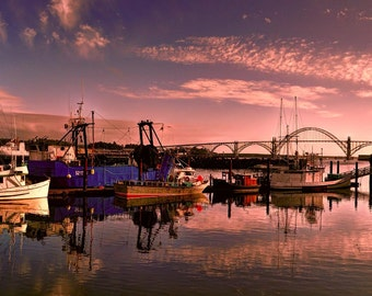 Newport sunset photo, HDR photograph, Red, purple, blue, fine photography prints, The Day is Done