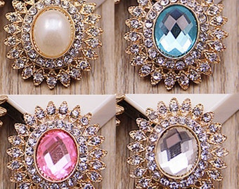 4 Flat Back Rhinestone Button Crystal Button Pearl Button  (28x25mm) QS-085