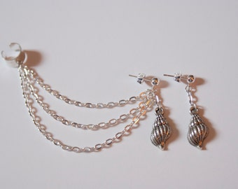Seashell Ocean Beach Ear Cuff and Earring Silver