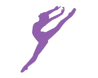 Leaping Ballerina Ballet Dancer Silhouette Embroidery Machine Design