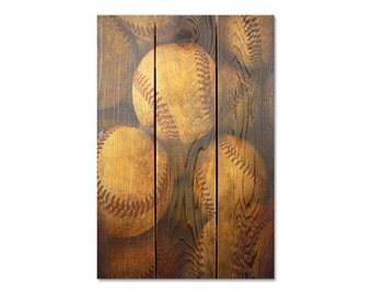 16x24 Vintage Baseball on cedar, Indoor and Outdoor Wall Decor, Man Cave Wall Hanging. (VB1624)