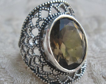 Smokey Quartz Faceted Sterling Silver Ring Size 8
