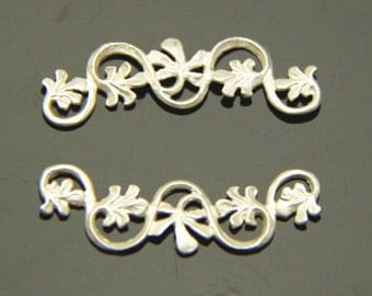 6 pcs of brass filigree charm pendant 35x12mm-matte silver