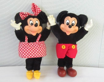 Mickey Mouse & Minnie Mouse Plush Toy Dolls. Two Disney Stuffed Toys Made by Applause, 8 Inches Tall, Circa 1980s.