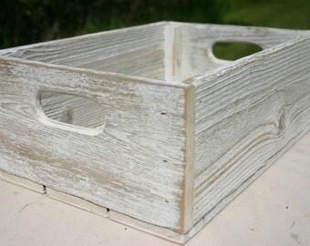 Handmade Reclaimed Wood Crate - White - Distressed Barnwood Storage Crate