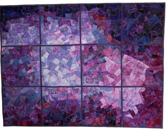 Shades of Purple Scrappy Reversible Quilt - Lap Quilt - Throw Quilt - Twin Bed Quilt Topper