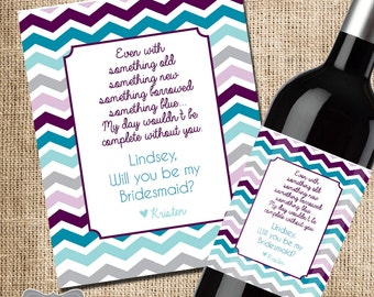 will you be my bridesmaid wine bottle label, bridesmaid wine bottle label, wedding party favor, wedding party gift, bridesmaid photo gift