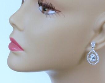 Crystal Bridal Earrings Pear Shaped Bridal Earrings Wedding Jewelry Crystal Bridal Jewelry Jewelry Evening