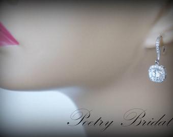 Crystal Bridal Earrings Cushion Cut Earrings Wedding Jewelry Wedding Earrings Bridal Jewelry Drop