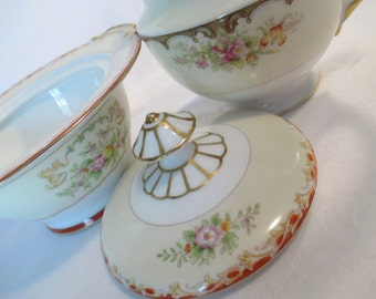 Vintage Mismatched China Sugar & Creamer Set for Tea Parties, Bridal Luncheons, Showers, Hostess Gift, Bridesmaid Gift
