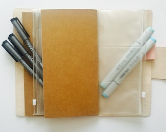 PVC zip pockets and card holders- for TN or ring bound planners.