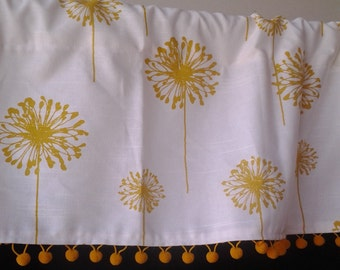 Yellow Dandelions on white background, kitchen valance with gold ball trim