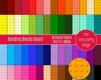 75% OFF Sale - 56 Digital Papers - Building Blocks Board - Instant Download - JPG 12x12 (DP111)