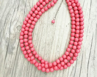 SALE Beaded coral pink necklace,Coral pink bridesmaids necklace, Bridesmaid gift, Multistrand coral pink necklace, Coral pink wedding,
