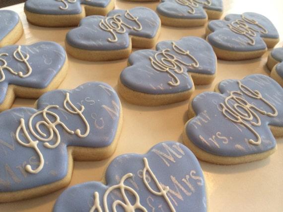 Double Heart Monogram Cookie by LouiesSweetTreats on Etsy