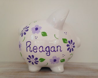 Personalized Hand Painted Piggy Bank With Flowers