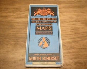 Vintage 1940s Bartholomew county map - various counties, condition and prices vary
