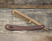 Personalized Handmade Folding Wood Straight Razor Beard Comb