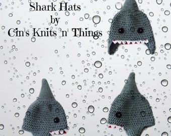 Shark Hat -  Ocean Animal Hat - Animal Hat - Crochet Hats - Baby Hats - Kids Hat - Hats for Kids - Fun Hat - Shark Week Hat