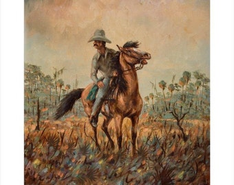 COWBOY print from original oil by artist BUSTER KENTON