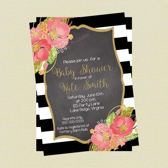 Baby shower invitation black and white stripes coral watercolor il570xn mightylinksfo