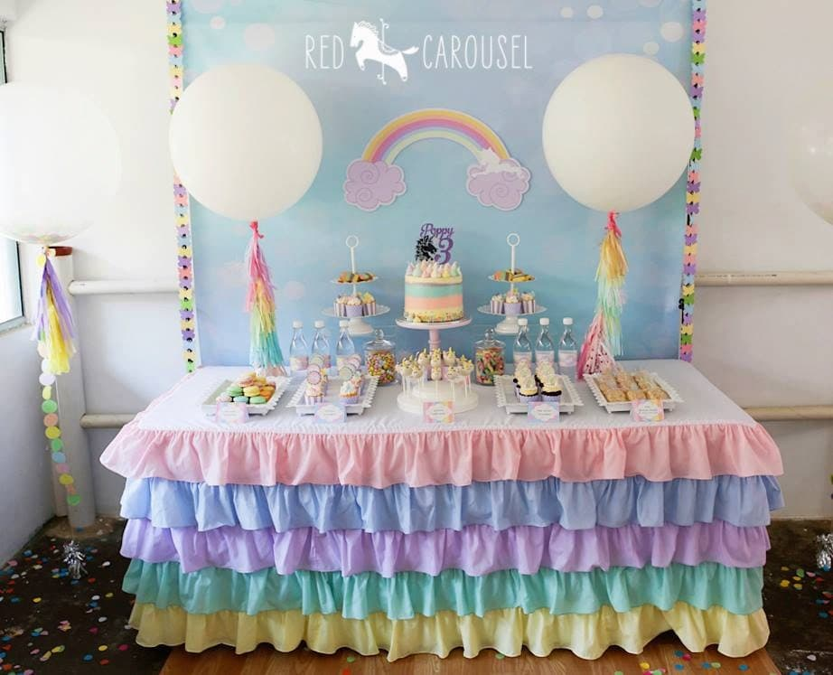 Pastel Ruffle Rainbow Tablecloth By Candycrushevents On Etsy