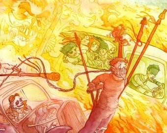 Mad Max Fury Road War Rig, Original Watercolor Painting