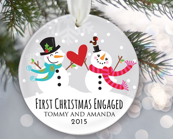 First Christmas Engaged Personalized Christmas Ornament