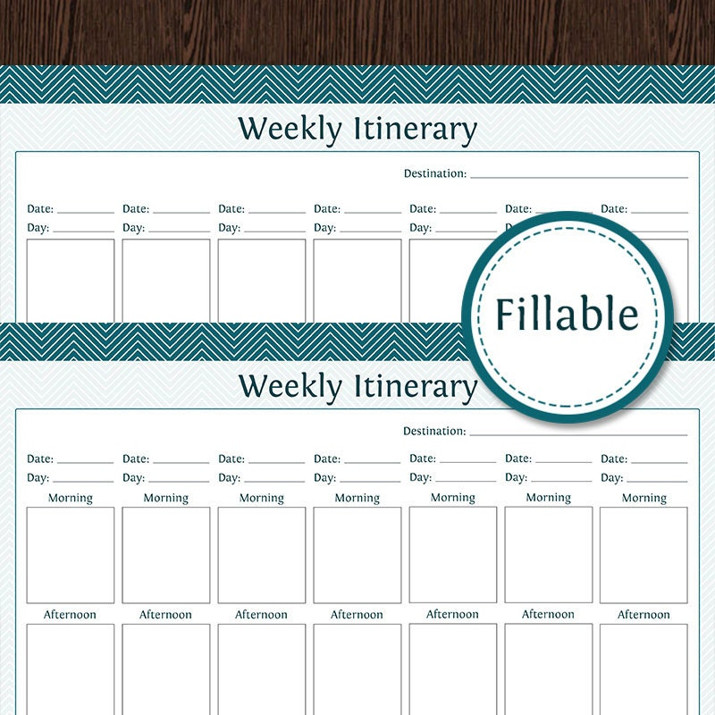 Travel Planner Weekly Itinerary Week Overview Fillable