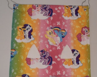 "The ""Pig""-Out Pouch.. My Little Pony on white with 2 holes Hay Bag"