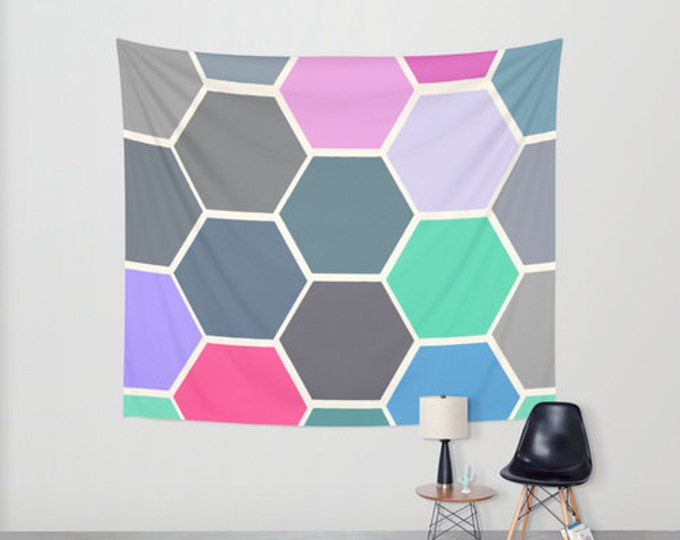 Colorful Hanging Tapestry - Wall Tapestry - Hexagon Art - Large Wall Hanging - 3 Sizes Available - Home Decor - Made to Order
