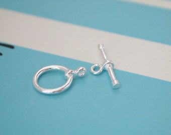 1 Set, Toggle Clasp, 925 Sterling Silver, Smooth Round, Jewelry Supplies, DIY Supplies
