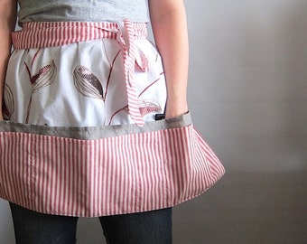 Cafe Apron,  Hip Apron, Half Apron with pockets - red buds