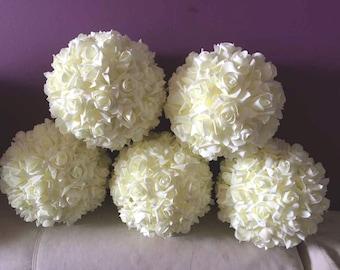 "Ivory Flower Balls Cream White Kissing Ball 9"" Pomanders For Wedding Wedding Decor Centerpieces Bridal Shower"