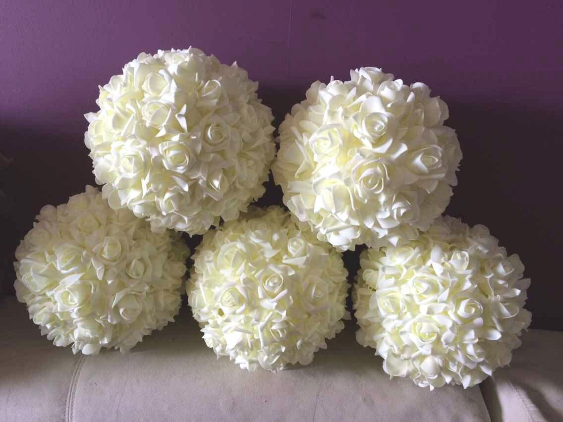 Ivory flower balls cream white kissing ball pomanders