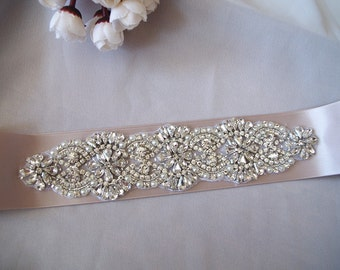 crystal bridal sash applique, pearl beaded bridal belt applique, rhinestone applique for wedding sash