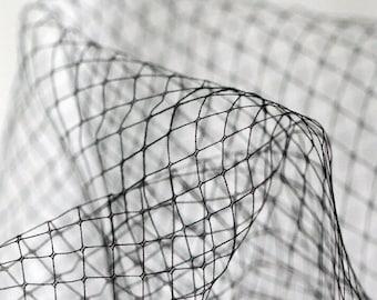 black Diamond lattice mesh tull, birdcage veil, , black mesh fabric, stiff checks mesh for veil