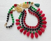 NEW !! Strand Necklaces : Indian Beaded Statement Necklace - Layered necklace - Red, Green & Black