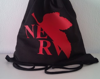 NERV evangelion inspired drawstring backpack  Cotton canvas 35x35cm