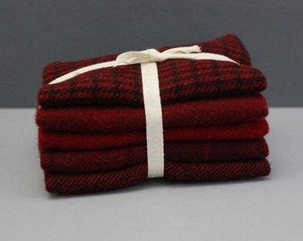 Bright Red Wool Bundle for Rug Hooking and Wool Applique