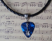Guitar Pick Necklace, Choice 12 Colors, Tibetan Silver Braid Bail, Custom Size, Musical Instrument, Guitar Charm, Braided PU Leather Cord