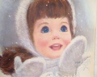 vintage girl portrait winter snow mittens print on board wall hanging by J Hook brunette blue eyes