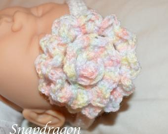 Baby crochet flower headband approx 16'' head circumference 3-9 months