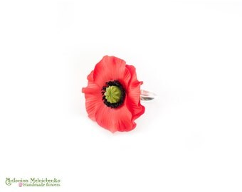 Ring Poppy - Polymer Clay Flowers