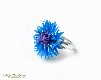Ring Cornflower - Polymer Clay Flowers