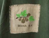 363 Micah 4:4 100% Linen Vineyard Green Caftan Tunic with Two Patch Embroideries, Decorative Stitching & Linen Fringe Trim