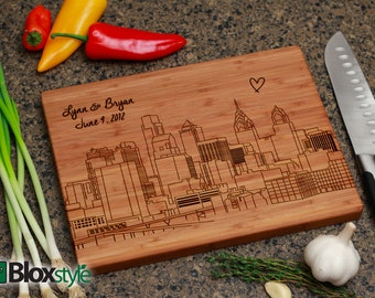 Philadelphia Skyline- Personalized Engraved Cutting Board,Personalized Wedding Gift,Custom Cutting Board, Groomsmen Gifts, Retirement Gifts