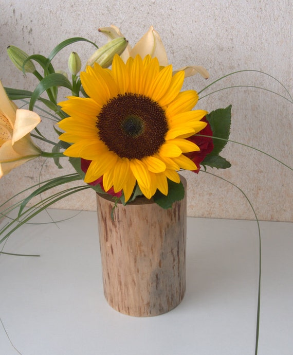 Wedding centerpiece wood stump vase log by forestinspiration